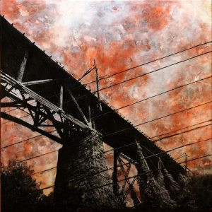 """""""Trestle"""" 36""""x36"""" encaustic, paper, acrylic, sumi ink and graphite on panel"""