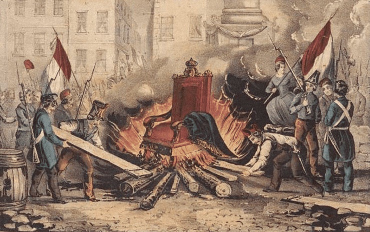 The burning of the throne of king Louis Philippe during the French revolution of 1848 by Nathaniel Currier