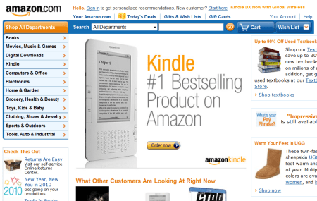 Amazon's homepage today (2010)