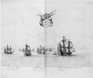 Classis navium qua hinc discessit comes Mavritivs Praefectvs. Post, Frans Jansz, 1612-1680. Amstelodami : Typographeio Ioannis Blaev, 1645. Baerle, Caspar van. In: Rervm per octennivm in Brasilia, 1647. Arquivo digital da Brasiliana USP. (http://wwwwbrasiliana.usp.br)