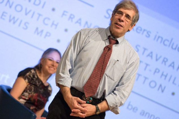 Darwin Day Lecturer Jerry Coyne, with guest chair Alice Roberts.