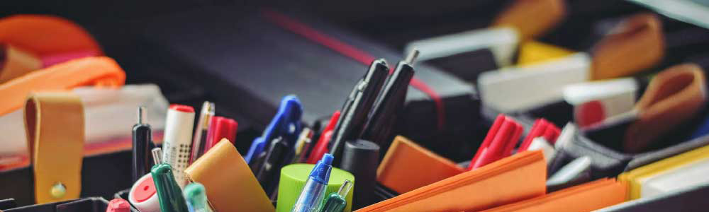 supplies of markers and post-its for design thinking