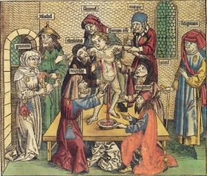 Simon av Trent myrdes av jødene. Tresnitt fra 1493. Foto: Wikimedia Commons.
