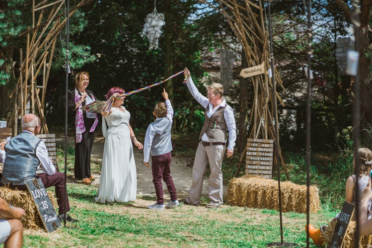 Handfasting at a humanist wedding ceremony