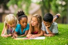 School kids play outside