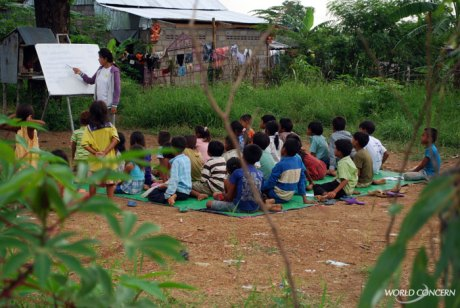 "World Concern works with Cambodian Hope Organization to provide ""School on a Mat,"" an education and child trafficking prevention class brought to villages."