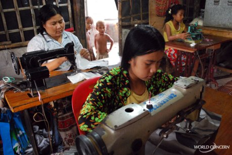 Girls learn how to sew in Poi Pet, Cambodia. Child Trafficking prevention must include opportunities for income.