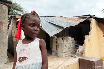 A girl I met today who lives in a damaged home in Haiti.