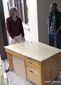 A school desk bound for Haiti