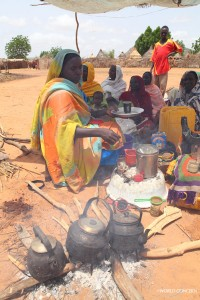 A woman tends a fire for cooking in Chad.