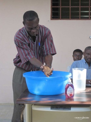 Haiti staff are trained in proper handwashing.