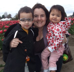 Carrie Yu and her children.
