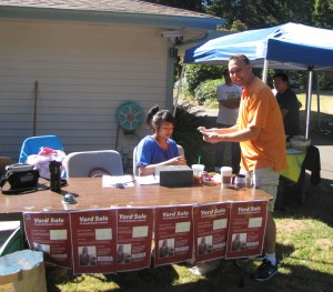 Church yard sale volunteers