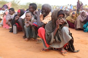 Refugees line up to be registered at the Ifo extension camp near Dadaab, Kenya.