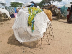 A shelter in Dhobley, Somalia