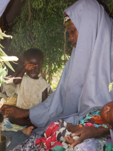 Maria Abdi and her children in the Horn of Africa.