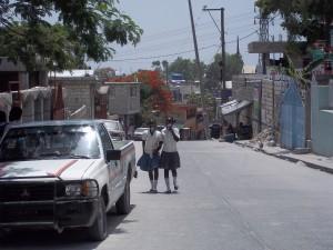 Children walking home from school in Port au Prince, Haiti.