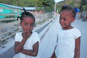 Kids near a canal in Southern Haiti.