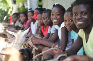 girls goats haiti1