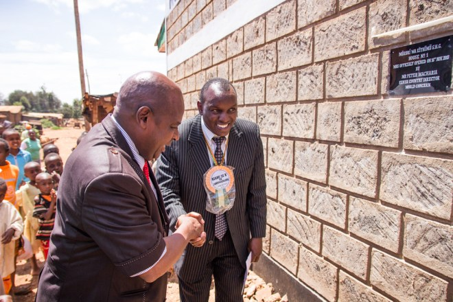 Peter Macharia, new World Concern Africa Area Director, at opening of a new World Concern saving's group building in Embu, Kenya.