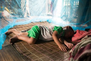 A bed net will help keep the mosquitoes away from sleeping children.
