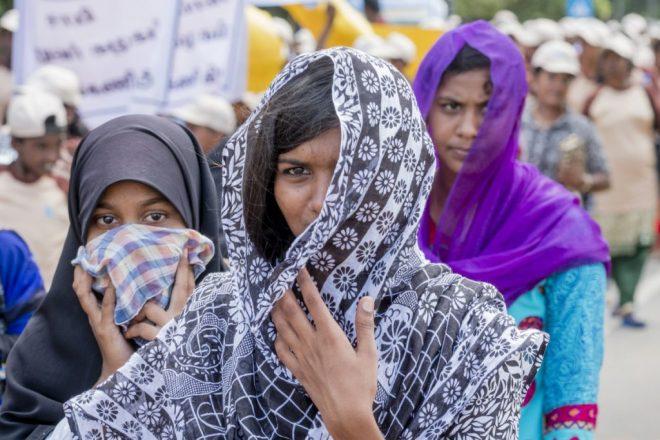girls participate in the Children's Walk in Sri Lanka
