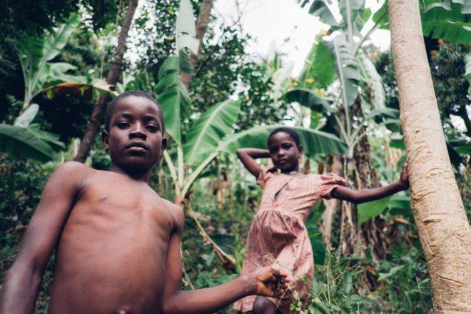 children outside in rural Haiti
