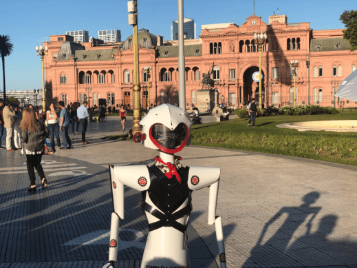 Maria, the Friendly Robot, outside the Casa Rosada, in Plaza de Mayo, the site of many political movements in Buenos Aires, Argentina.