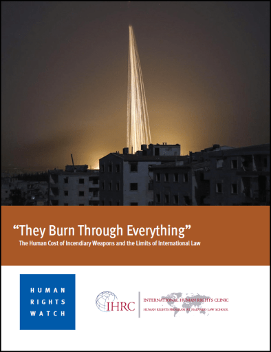 Cover of new Human Rights Watch and International Human Rights Clinic report on incendiary weapons, containing an image of fires rising above a city.