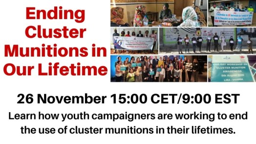 "Poster for event titled, ""Ending Cluster Munitions in Our Lifetime."""