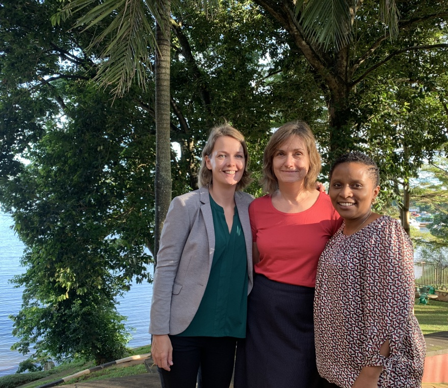 "Dr. Davis with two of the lecturers of the latest Uganda session of the short course ""Sexual Violence in Conflict Settings and Emergencies"" (November 2019)."