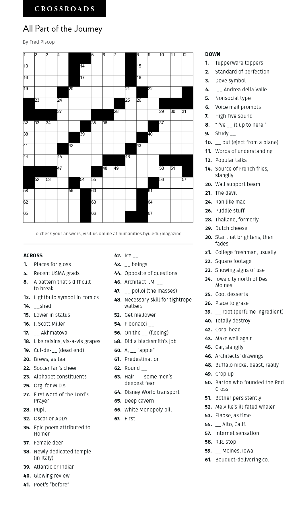 Fall Magazine Crossword Puzzle