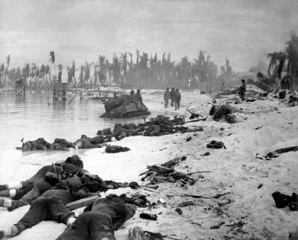 Sprawled bodies on beach of Tarawa, testifying to ferocity of the struggle for this stretch of sand. November 1943. (Navy) Exact Date Shot Unknown NARA FILE #: 080-G-57405 WAR & CONFLICT BOOK #: 1342