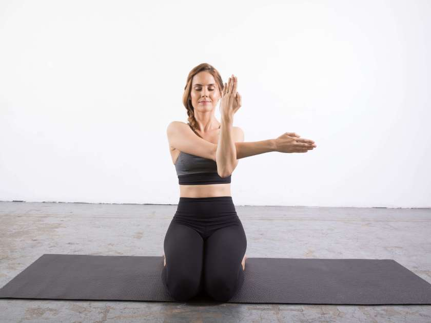 Eagle Arms Pose Modification: Yin Yoga poses for the shoulders
