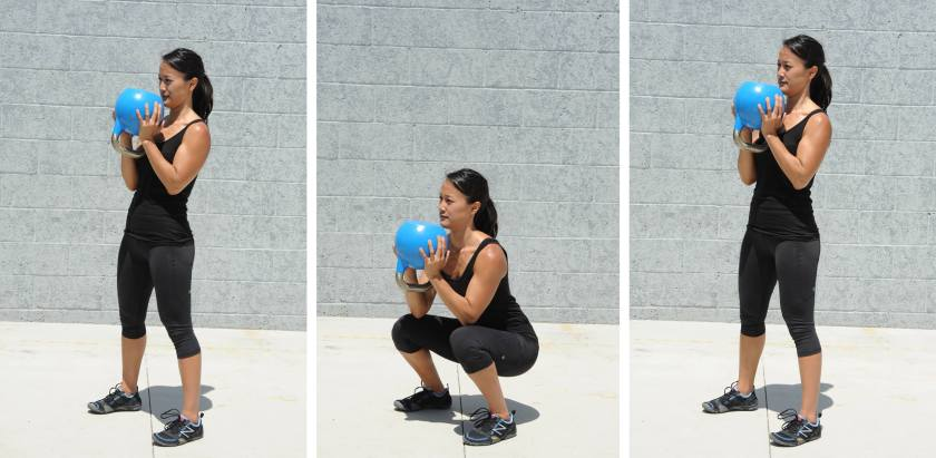 Goblet Squat, kettlebell exercises for fat loss
