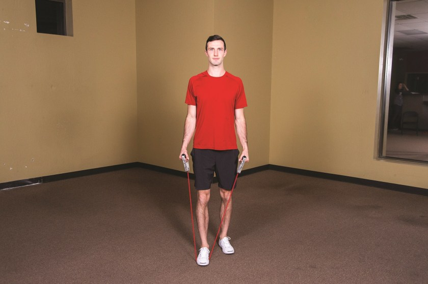Lateral Raise start Best Resistance Band Workouts for Shoulders