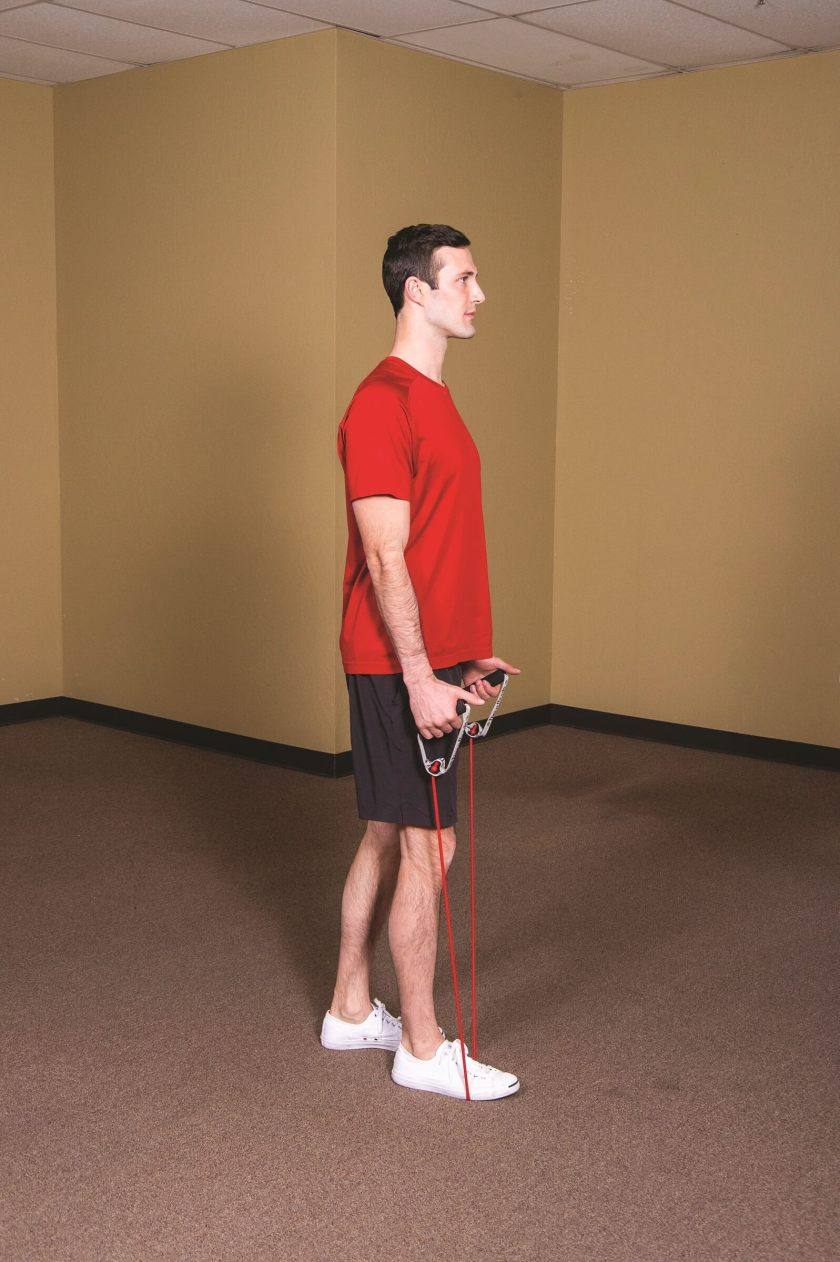 Best Resistance Band Workouts for Shoulders - front raise
