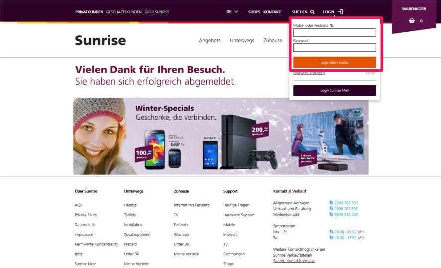 Auf http://sunrise.ch im Konto zum Abo anmelden