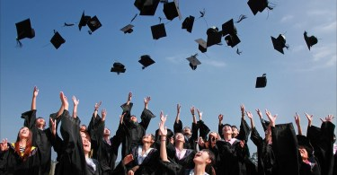 graduation hats in air