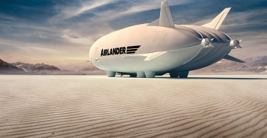 Airlander 10 on a salt lake in the desert