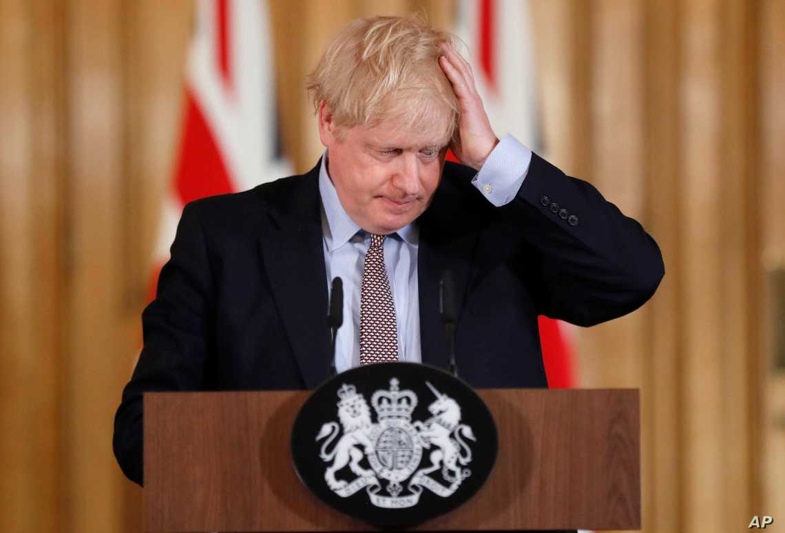 Boris Johnson at Covid 19 Press conference looking stressed