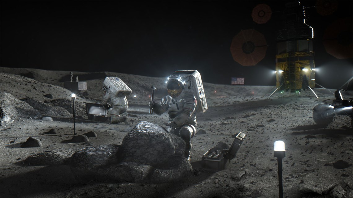 artists rendition of astronauts working to build lunar habitat
