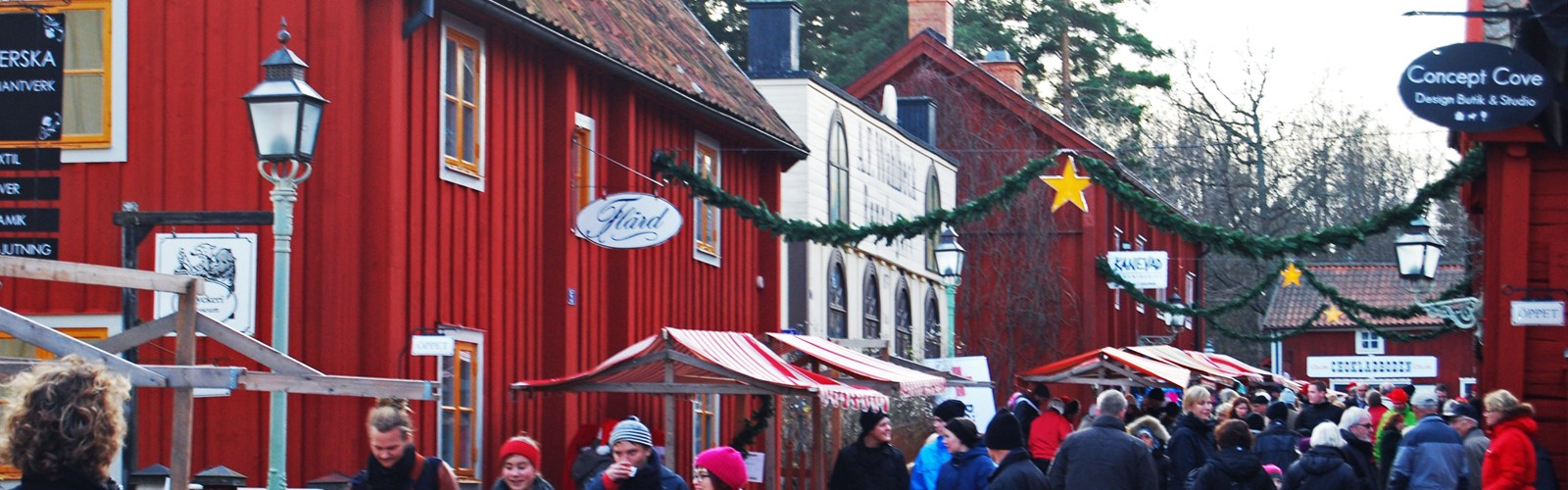 shoppers on high street in Swedish town