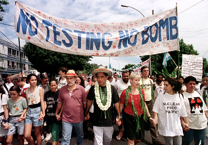 protesters against nuclear testing in French Polynesia