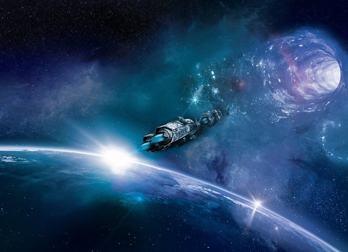 artists impression of spaceship approaching a wormhole