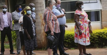 people waiting in line at vaccine centre in Victoria Falls in March 2021