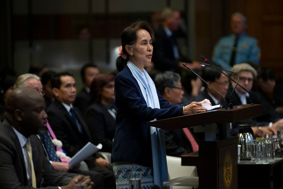 Aung san suu kyi defending the army at the ICJ
