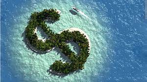 image of island in shape of dollar sign