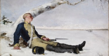 Haavoittunut soturi hangella. Helena Schjerfbeckin maalaus v. 1880.