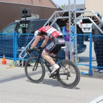 This is what it looks like to cross the line at the end of a short fast bike race.